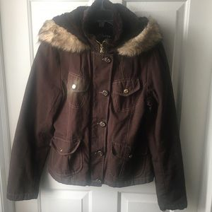 GUESS Brown Winter Coat with Hood